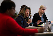 Gloria Reyes, deputy mayor for the city of Madison, responds to a question during the South Side Madison Madison School Board public forum hosted by Mount Zion Baptist Church in Madison, Wisconsin, Tuesday, March 6, 2018.
