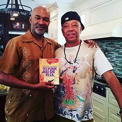"""Russell Simmons releases a photo on Twitter with the following caption: """"""""With @UncleRUSH and my new novel #tofunkanddieinla @AkashicBooks in Cali. Pub date 9/5/17. #music #blackculture #LosAngeles"""""""". Photo Credit: Twitter *** No USA Distribution *** For Editorial Use Only *** Not to be Published in Books or Photo Books ***  Please note: Fees charged by the agency are for the agency's services only, and do not, nor are they intended to, convey to the user any ownership of Copyright or License in the material. The agency does not claim any ownership including but not limited to Copyright or License in the attached material. By publishing this material you expressly agree to indemnify and to hold the agency and its directors, shareholders and employees harmless from any loss, claims, damages, demands, expenses (including legal fees), or any causes of action or allegation against the agency arising out of or connected in any way with publication of the material."""