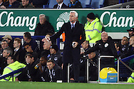 Crystal Palace Manager Alan Pardew looks on from the technical area. Barclays Premier league match, Everton v Crystal Palace at Goodison Park in Liverpool, Merseyside on Monday 7th December 2015.<br /> pic by Chris Stading, Andrew Orchard sports photography.