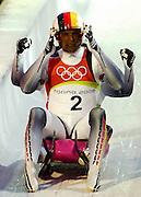 © Filippo Alfero<br /> Cesana Pariol, 15/02/2006<br /> Sport, Olimpiadi<br /> Olimpiadi invernali Torino 2006<br /> slittino doppio<br /> Nella foto: Andre Florschuets e Torsten Wustlich - GER (medaglia d'argento)