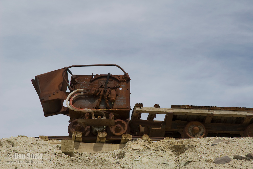 Abandoned rail car at Ryan, California, a 1920s mining camp in the Greenwater Range on the Eastern edge of Death Valley