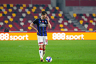Middlesbrough midfielder Paddy McNair (17) appears to signal before a free kick during the EFL Sky Bet Championship match between Brentford and Middlesbrough at Brentford Community Stadium, Brentford, England on 7 November 2020.