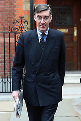 © Licensed to London News Pictures. 27/03/2019. London, UK. Brexit supporter Jacob Rees-Mogg, who has announced he may be able to support Prime Minister Theresa May's Brexit Deal, leaves his Westminster home. MPs will hold a series of indicative votes on different Brexit options this evening. Photo credit: Rob Pinney/LNP
