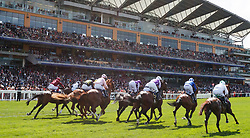 A general view of runners and riders in action in the Queens Vase Race during day two of Royal Ascot at Ascot Racecourse.