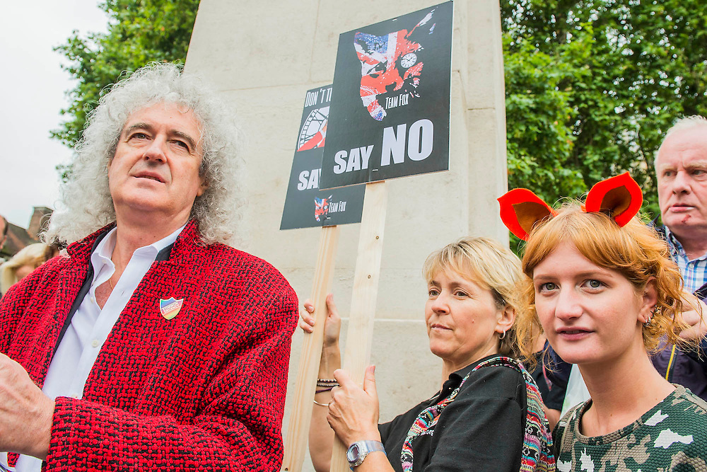 Brian May - Ahead of Wednesday's free vote, Brian May (Queen guitarist and committed animal campaigner) and Angus Robertson MP, Leader of the SNP in Westminster – along with May's Save Me Trust, PETA, the RSPCA, the League Against Cruel Sports, Born Free, Lush and Humane Society International – protest in Westminster, urging policymakers to 'keep Britain humane by keeping the Hunting Act intact'. While there they hear that the vote has been postponed.