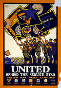 United behind the service star, United War Work Campaign. Baker, Ernest Hamlin, 1889-1975, artist. Published: 1918 Summary: Poster showing flags of various service organizations flying at a military parade.
