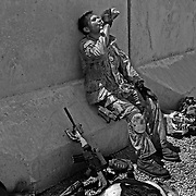 Jul 11, 2008 - Zhari District, Kandahar Province, Afghanistan - Soaked in sweat and exhausted from a heavy fire fight, Canadian soldier Sgt. Paul Sprenger takes a drink from his canteen in the Spin Pir area of Zhari District, Afghanistan..(Credit Image: © Louie Palu/ZUMA Press)