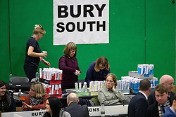 © Licensed to London News Pictures . 13/12/2019. Bury, UK. Votes being tallied for the constituency of Bury South in the 2019 UK General Election , at Castle Leisure Centre in Bury . Photo credit: Joel Goodman/LNP