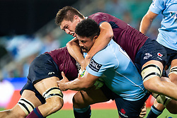 March 9, 2019 - Sydney, NSW, U.S. - SYDNEY, NSW - MARCH 09: Waratahs player Tatafu Polota-Nau (16) tackled by Reds player Harry Hockings (5) at round 4 of Super Rugby between NSW Waratahs and Queensland Reds on March 09, 2019 at The Sydney Cricket Ground, NSW. (Photo by Speed Media/Icon Sportswire) (Credit Image: © Speed Media/Icon SMI via ZUMA Press)