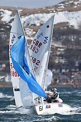 Day 1 of the RYA Youth National Championships 2013 held at Largs Sailing Club, Scotland from the 31st March - 5th April. ..54081, Alasdair IRELAND, Ruaridh MILLS, Toward Sailing Club, 420...For Further Information Contact..Matt Carter.Racing Communications Officer.Royal Yachting Association.M: 07769 505203.E: matt.carter@rya.org.uk ..Image Credit Marc Turner / RYA..