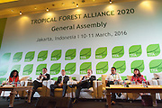 General view of the panel discussion during the opening session of the General Assembly of the Tropical Forest Alliance 2020 in Jakarta, Indonesia, on March 10, 2016. <br /> (Photo: Rodrigo Ordonez)