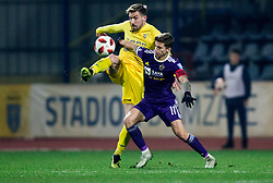 Dario Melnjak of NK Domzale vs Luka Zahovic of NK Maribor during football match between NK Domzale and NK Maribior in 18th Round of Prva liga Telekom Slovenije 2018/19, on November 11, 2018 in Sportni Park, Domzale, Slovenia. Photo by Vid Ponikvar / Sportida