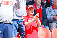 Charlton Athletic fan before the EFL Sky Bet League 1 play off first leg match between Doncaster Rovers and Charlton Athletic at the Keepmoat Stadium, Doncaster, England on 12 May 2019.