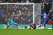 Burnley Goalkeeper Thomas Heaton saves from a Eden Hazard of Chelsea shot. Premier league match, Burnley v Chelsea at Turf Moor in Burnley, Lancs on Sunday 12th February 2017.<br /> pic by Chris Stading, Andrew Orchard Sports Photography.
