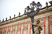Exterior detail shot. The New Palace is in the Sans Soucci Palace complex in Potsdam. Completed in 1769 under the rule of Frederick the Great it is seen as the last great Prussian Baroque Palace. Potsdam, Brandenburg, Germany.