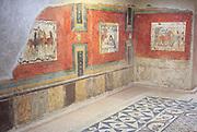 Murals in Museo Nacional de Arte Romano, national museum of Roman art, Merida, Extremadura, Spain