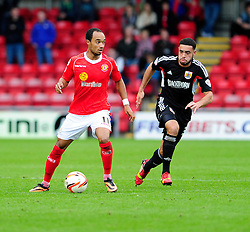 Crewe Alexandra's goal scorer Bryon Moore, in action against Bristol City - Photo mandatory by-line: Dougie Allward/JMP - Tel: Mobile: 07966 386802 19/10/2013 - SPORT - FOOTBALL - Alexandra Stadium - Crewe - Crewe V Bristol City - Sky Bet League One