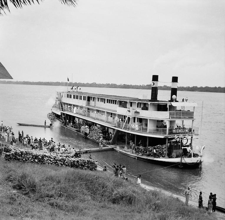 Unloading Goods from Barge, Coquilhatville (now Mbandaka), Belgian Congo (now Democratic Republic of the Congo), Africa, 1937