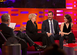 (left to right) Graham Norton, Emma Thompson, Adam Sandler, and Claire Foy during filming of the Graham Norton Show at the London Studios, to be aired on BBC One on Friday.