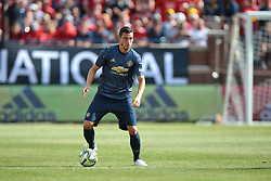 July 28, 2018 - Ann Arbor, Michigan, United States - Matteo Darmian (36) of Manchester United looks to pass during an International Champions Cup match between Manchester United and Liverpool at Michigan Stadium in Ann Arbor, Michigan USA, on Wednesday, July 28,  2018. (Credit Image: © Amy Lemus/NurPhoto via ZUMA Press)