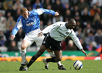 Photo: Lee Earle.<br /> Birmingham City v Chelsea. The Barclays Premiership. 01/04/2006. Chelsea's Claude Makelele (R) battles with Nicky Butt.