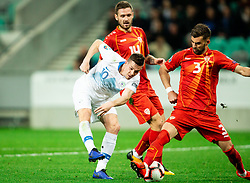 Miha Zajc of Slovenia vs Darko Velkoski of Macedonia and Egzon Bejtulai of Macedonia during football match between National teams of Slovenia and North Macedonia in Group G of UEFA Euro 2020 qualifications, on March 24, 2019 in SRC Stozice, Ljubljana, Slovenia. Photo by Vid Ponikvar / Sportida