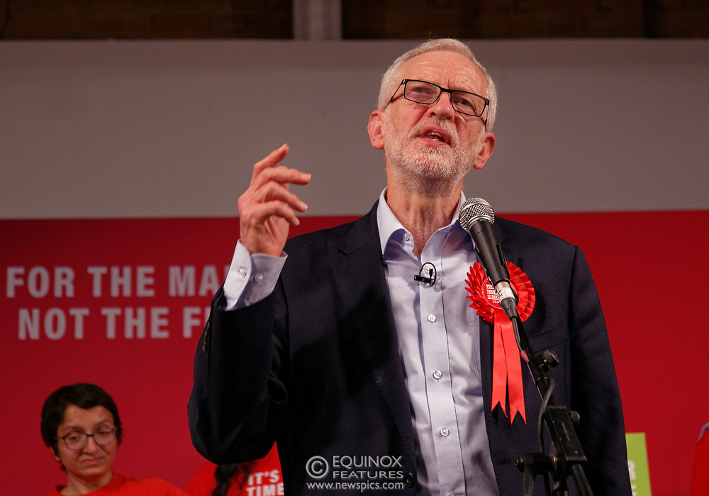 London, United Kingdom - 11 December 2019<br /> Labour Party leader Jeremy Corbyn speaking at their final campaign rally before the General Election 2019 at Hoxton Docks, London, England, UK.<br /> (photo by: EQUINOXFEATURES.COM)<br /> Picture Data:<br /> Photographer: Equinox Features<br /> Copyright: ©2019 Equinox Licensing Ltd. +443700 780000<br /> Contact: Equinox Features<br /> Date Taken: 20191211<br /> Time Taken: 21511653<br /> www.newspics.com