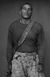 PFC Christian Martinez, 23, 2nd Platoon, Chicago, Illinois. Kilo Co. 3rd Battalion 1st Marines. Haditha, Iraq. Oct. 22, 2005.