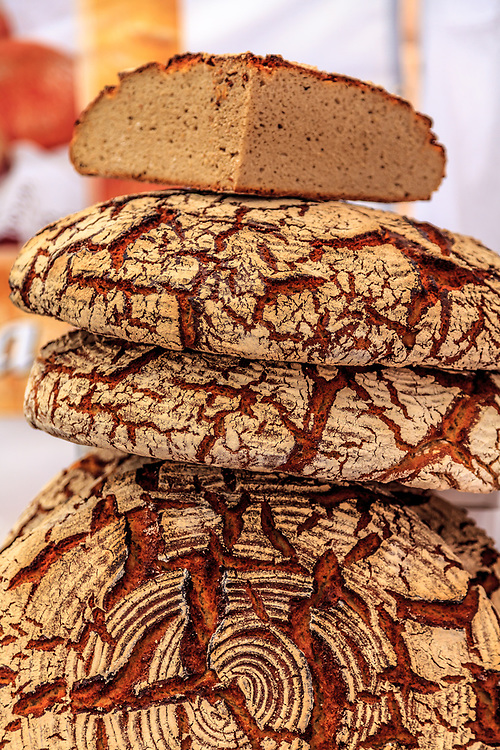 Polish rye bread in Warsaw, Poland. Bread is an essential part of the polish food. At its best no preservatives are used, nothing except flour, yeast, water, and salt are used.