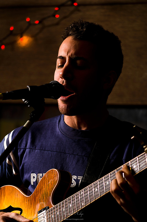 Dan Miller on guitar and vocals with Mission South at The Bus Stop Music Cafe in Pitman, NJ.