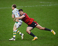 Rugby Union - 2020 / 2021 Gallagher Premiership - Gloucester vs Northampton Saints - Kingsholm<br /> <br /> Northampton Saints' Rory Hutchinson is tackled by Gloucester's Mark Atkinson.<br /> <br /> COLORSPORT/ASHLEY WESTERN