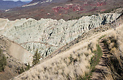 Blue Basin Overlook Trail, Sheep Rock Unit, John Day Fossil Beds National Monument, Oregon, USA. John Day Fossil Beds preserves layers of fossil plants and mammals that lived between the late Eocene, about 45 million years ago, and the late Miocene, about 5 million years ago. The panorama was stitched from 4 overlapping photos.