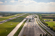 Nederland, Limburg, Maastricht, 27-05-2013; Vliegveld Beek, Maastricht Aachen Airport. Parallell aan de luchthaven de A2.<br /> Maastricht Aachen Airport.<br /> luchtfoto (toeslag op standaardtarieven);<br /> aerial photo (additional fee required);<br /> copyright foto/photo Siebe Swart.