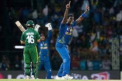 © Licensed to London News Pictures. 04/10/2012. Sri Lankan bowler Angelo Mathews appeals a caught behind decision during the World T20 Cricket Mens Semi Final match between Sri Lanka Vs Pakistan at the R Premadasa International Cricket Stadium, Colombo. Photo credit : Asanka Brendon Ratnayake/LNP