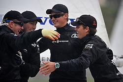 Torvar Mirsky and The Wave Muscat team celebrate their St. Moritz Match Race win. Photo: Chris Davies/WMRT