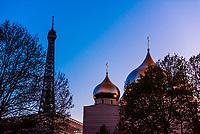 Onion domes of Cathedrale de la Sainte-Trinite (Russian Orthodox church), Paris, France.