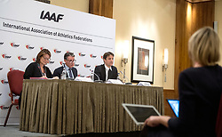 (From left to right) IAAF Public Relations and Communications Officer Jackie Brock-Doyle, President Lord Sebastian Coe and Chief Executive Olivier Gers during the press conference at the London Marriott Hotel Canary Wharf, London.