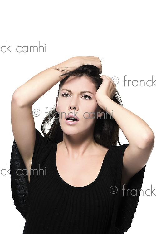 woman beautiful portrait on studio isolated white background pensive thinking anguish anxious