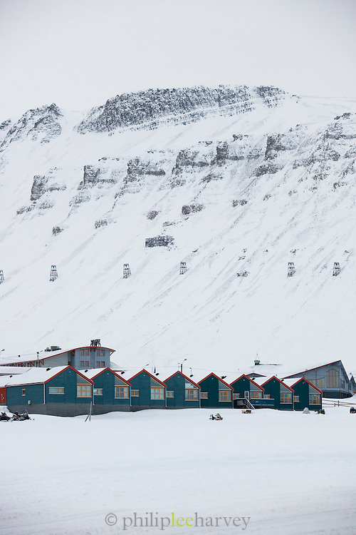 The town of Longyearbyen, the largest settlement in the Svalbard archipelago in the Arctic circle, on spitsbergen, Norway