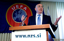07-05-2009 SLO: General Assembly 2009 of Slovenian football federation, Kranj<br /> Michael van Praag of Nederlands football association (KNVB) and UEFA at General Assembly 2009 of Slovenian football federation (NZS) when Rudi Zavrl was awarded by Slovenian football federation (NZS) when he became a Honorable president of NZS