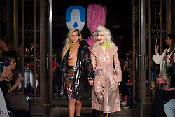Alice Dellal and Pam Hogg on the catwalk during the Pam Hogg London Fashion Week SS18 show held at Freemason's Hall, London. Picture date: Friday September 16th, 2017. Photo credit should read: Matt Crossick/ EMPICS Entertainment.