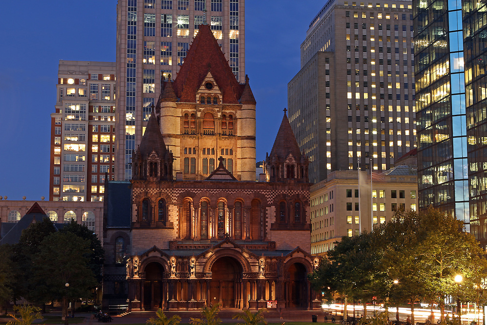 Historic landmark photography image of the Boston Trinity Church on a beautiful summer night captured shortly after sunset at twilight. The Trinity Church in the City of Boston is a Christian thriving community located in the Back Bay of Boston, Massachusetts. <br /> <br /> This Boston architecture photo of the Trinity Church in Back Bay image is available as museum quality photography prints, canvas prints, acrylic prints or metal prints. Prints may be framed and matted to the individual liking and decorating needs. <br /> <br /> <br /> http://juergen-roth.artistwebsites.com/featured/trinity-church-of-boston-juergen-roth.html<br /> <br /> All photographs are available for digital and print use at www.ExploringTheLight.com. Please contact me direct with any questions or request.<br /> <br /> Good light and happy photo making! <br /> <br /> My best, <br /> <br /> Juergen <br /> http://www.exploringthelight.com <br /> http://www.rothgalleries.com <br /> @NatureFineArt <br /> http://whereintheworldisjuergen.blogspot.com/ <br /> https://www.facebook.com/naturefineart