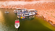 Drone Photo of House Boats at Reflection Canyon on Lake Powell