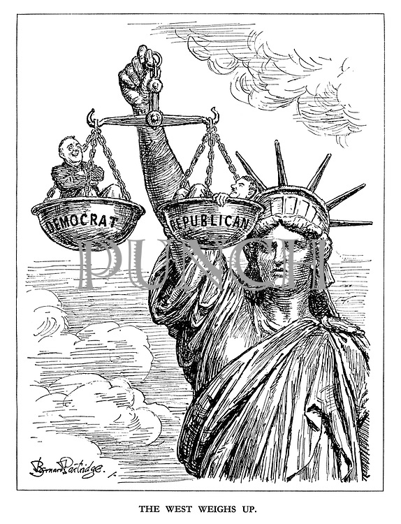 The West Weighs Up. (the Statue of Liberty lifts the scales and weighs the smiling Democrat  Roosevelt against the Republican Thomas Dewey in the coming presidential election)
