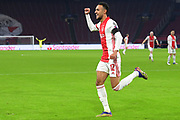 Noussair Mazraoui of Ajax celebrates after his goal during the UEFA Champions League, Group D football match between Ajax and Midtjylland on november 25, 2020 at Johan Cruijff Arena in Amsterdam, Netherlands - Photo Gerrit van Keulen / Orange Pictures / ProSportsImages / DPPI