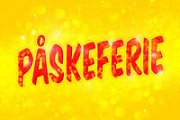 Fiks ferdig påske-design med rød tekst «Påskeferie» på gul bokeh bakgrunn. Perfekt til bruk på nettsteder, Facebook eller butikkdøra når man skal tilbringe solskinnsdager på påskefjellet.