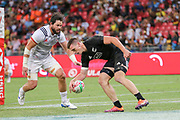 Sam Dickson scores during Day 3 of the HSBC World Rugby Sevens, Mens Cup Final match between New Zealand and USA, 2019, Spotless Stadium, Saturday 3rd February 2019. Copyright Photo: David Neilson / www.photosport.nz