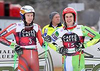 ALTA BADIA,ITALY, 17.DEC.17 - ALPINE SKIING - FIS World Cup, giant slalom, men.  Image shows Henrik Kristoffersen (NOR) and Zan Kranjec (SLO).<br /> <br /> Norway only