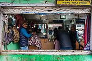 Open air hair dresser, Kohima, Nagaland, India