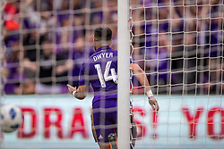 May 6, 2018 - Orlando, FL, U.S. - ORLANDO, FL - MAY 06: Orlando City forward Dom Dwyer (14) reacts after scoring a goal during the soccer match between the Orlando City Lions and Real Salt Lake on May 6, 2018 at Orlando City Stadium in Orlando FL. Photo by Joe Petro/Icon Sportswire) (Credit Image: © Joe Petro/Icon SMI via ZUMA Press)